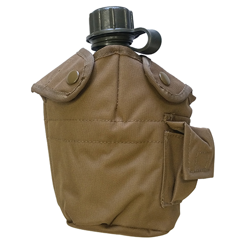 USA MADE Water Canteen + Coyote Tan MOLLE PALS Compatible Cover