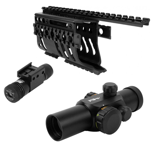 Tactical Quad Rail w/ Green Laser, 4 Reticle Red Dot Scope Sight