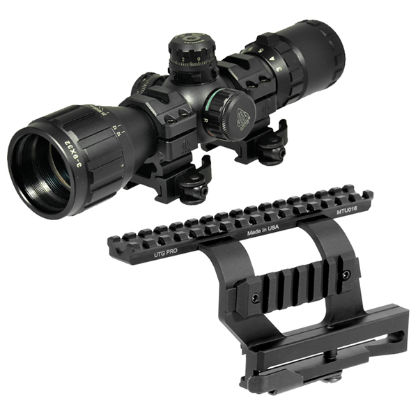 AK Combo #19 - UTG 3-9x32 Compact RGB Scope + AK47 QD Side Mount