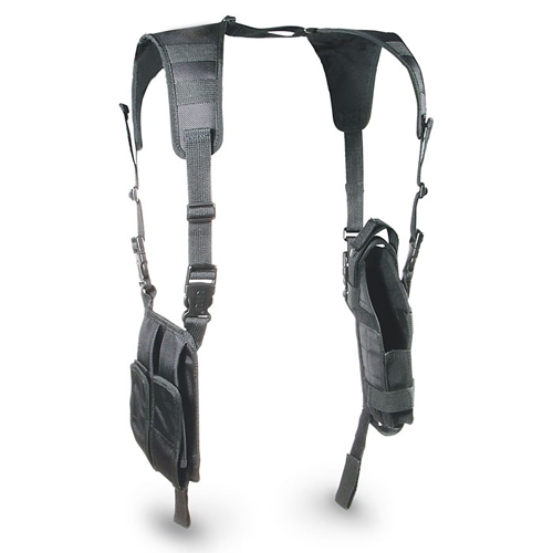 UTG Black Tactical Vertical Shoulder Holster w/ Mag Pouches