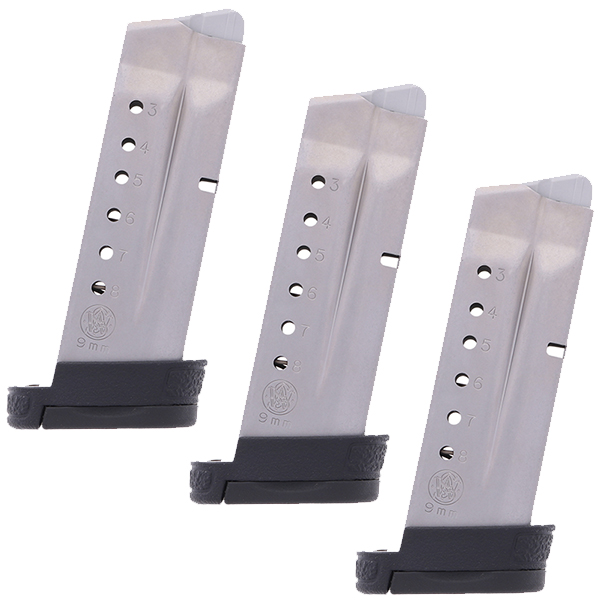 3 Pack - S&W SHIELD 9mm 8rd OEM Magazines w/ Finger Rest