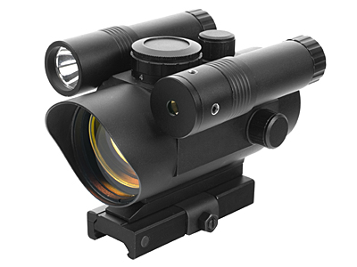 Red Dot w/ Integrated Green Laser + Flashlight fits Weaver Rails