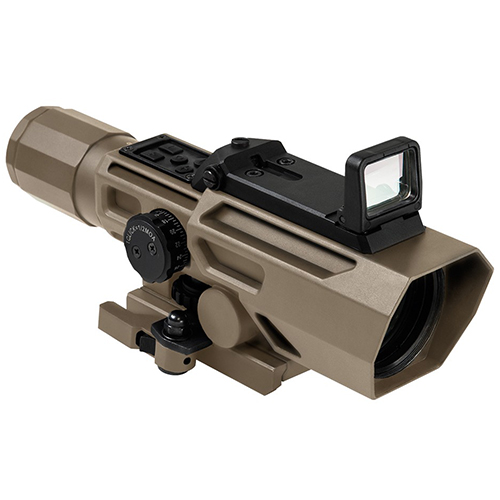 VISM ADO 3-9x42 Quick Detach TAN Scope + Flip Up Red Dot Sight