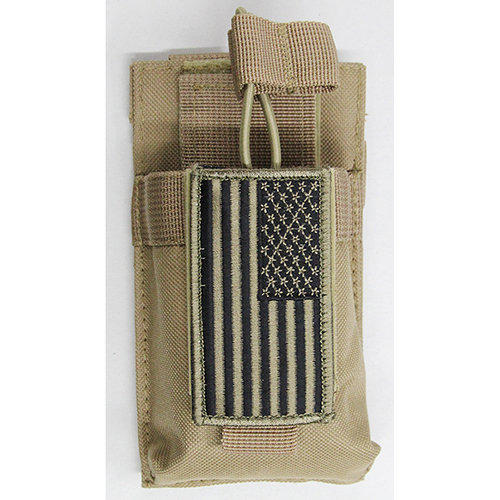 Molle Compatible Handheld GMRS FRS HAM Radio Pouch + Flag Patch