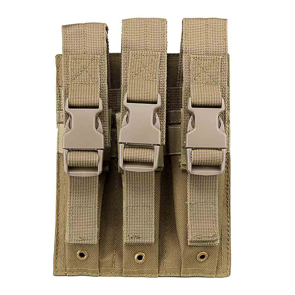 VISM 3 Pocket Tan MOLLE Pouch for Extended Length Pistol Mags
