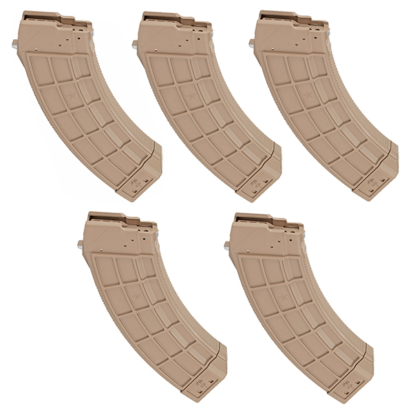 5 Pack - US Palm FDE Color 7.62x39 Magazine for AK47 MAK90 Rifle