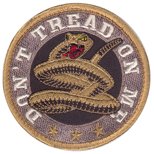 Don't Tread On Me Round Moral Patch Tan Hook and Loop Material